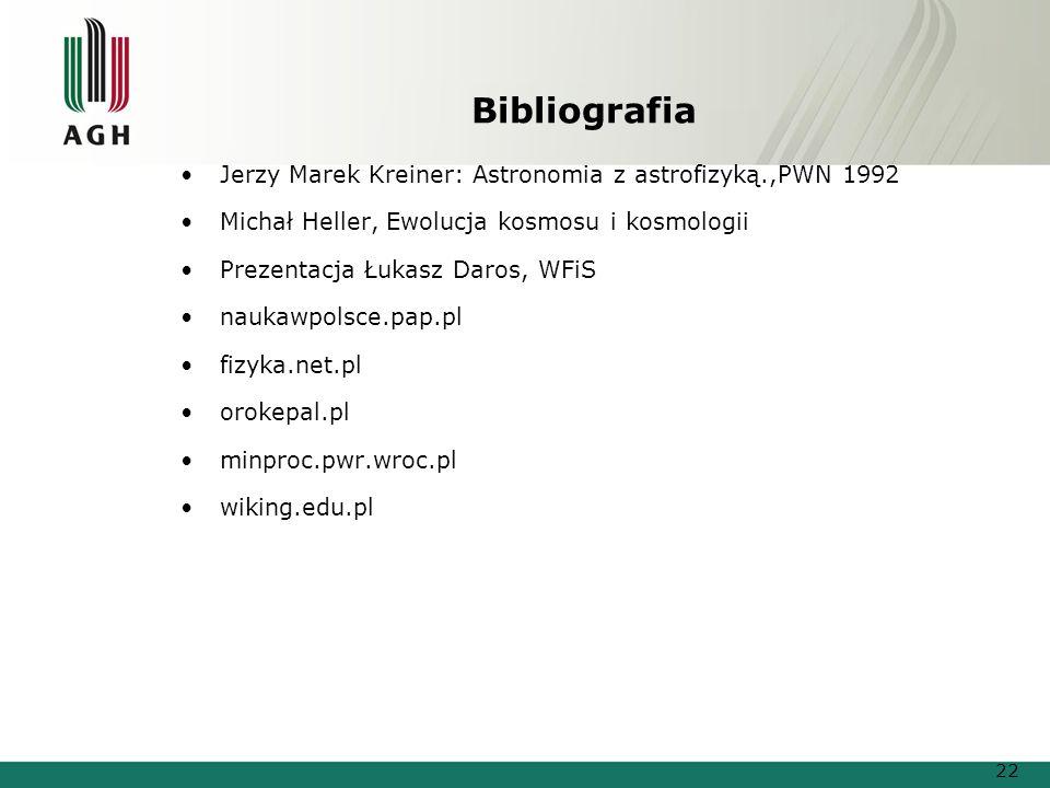 Bibliografia Jerzy Marek Kreiner: Astronomia z astrofizyką.,PWN 1992 Michał Heller, Ewolucja kosmosu i kosmologii Prezentacja Łukasz Daros, WFiS nauka