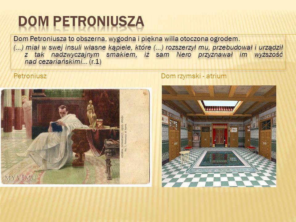 Dom Petroniusza to obszerna, wygodna i piękna willa otoczona ogrodem. (…) miał w swej insuli własne kąpiele, które (…) rozszerzył mu, przebudował i ur