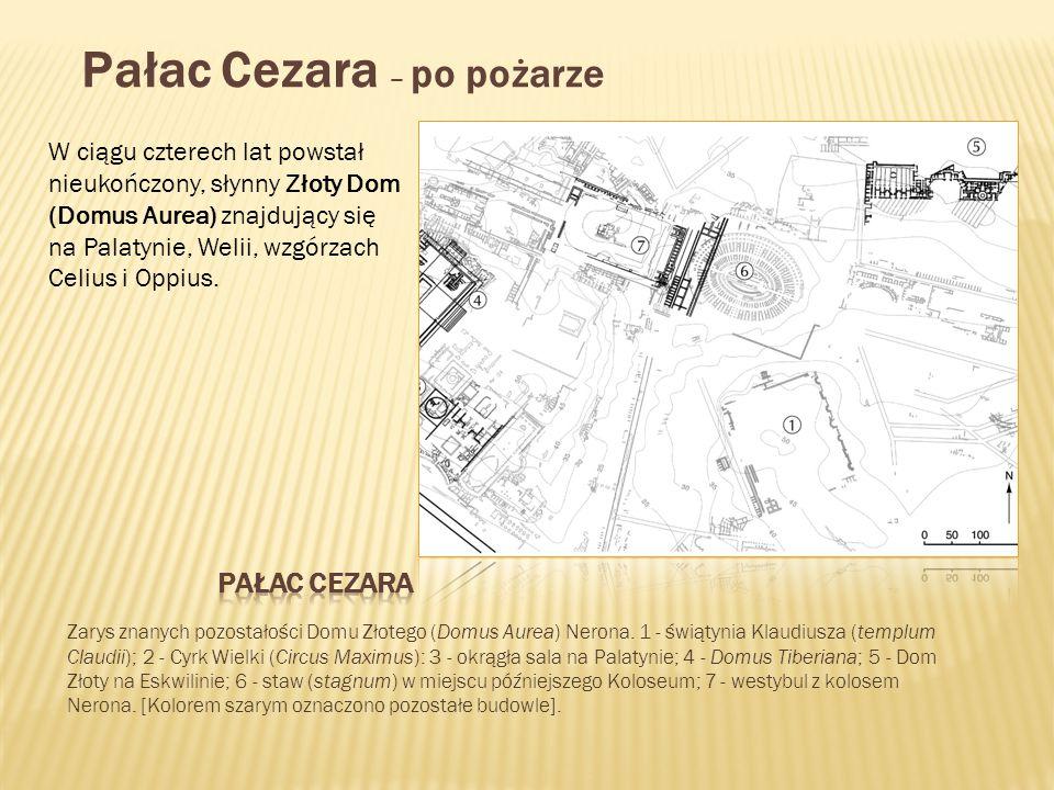 Zarys znanych pozostałości Domu Złotego (Domus Aurea) Nerona. 1 - świątynia Klaudiusza (templum Claudii); 2 - Cyrk Wielki (Circus Maximus): 3 - okrągł