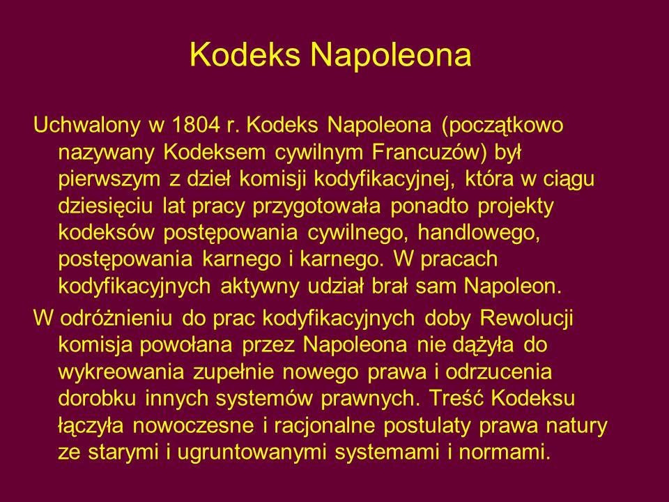 Kodeks Napoleona Uchwalony w 1804 r. Kodeks Napoleona (początkowo nazywany Kodeksem cywilnym Francuzów) był pierwszym z dzieł komisji kodyfikacyjnej,