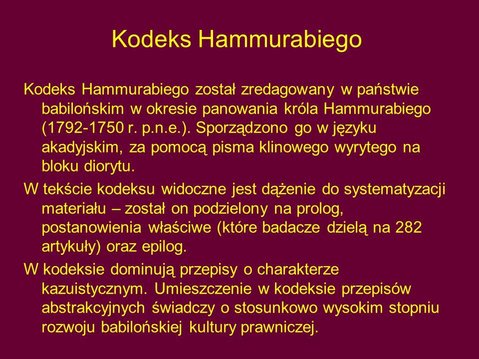 Kodeks Hammurabiego Kodeks Hammurabiego został zredagowany w państwie babilońskim w okresie panowania króla Hammurabiego (1792-1750 r. p.n.e.). Sporzą