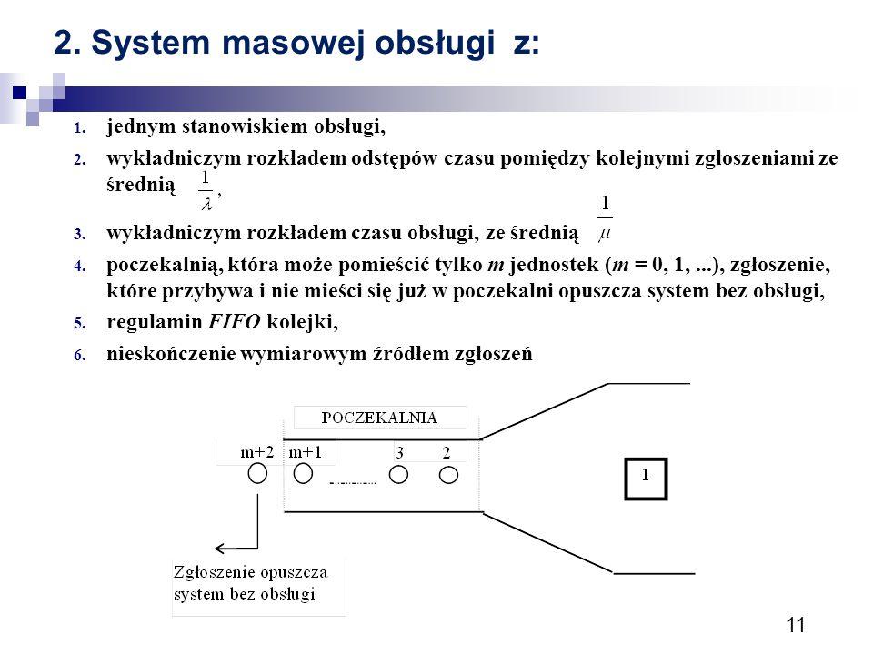 11 2. System masowej obsługi z: 1. jednym stanowiskiem obsługi, 2. wykładniczym rozkładem odstępów czasu pomiędzy kolejnymi zgłoszeniami ze średnią 3.