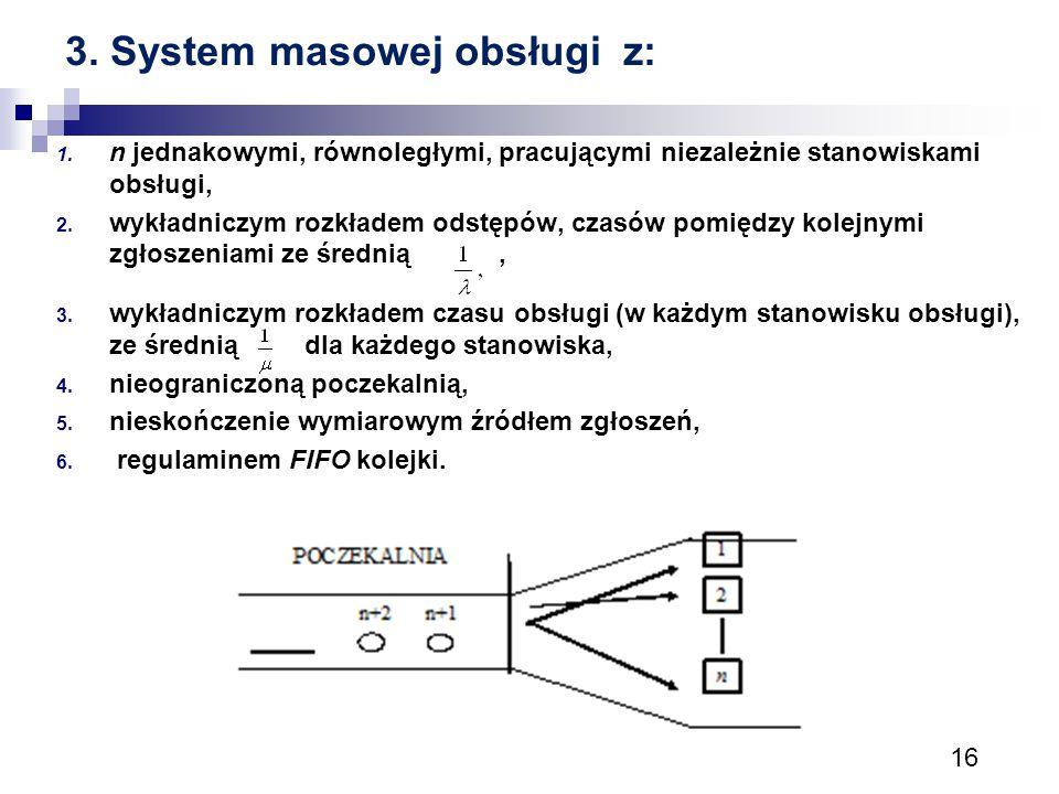 16 3. System masowej obsługi z: 1. n jednakowymi, równoległymi, pracującymi niezależnie stanowiskami obsługi, 2. wykładniczym rozkładem odstępów, czas