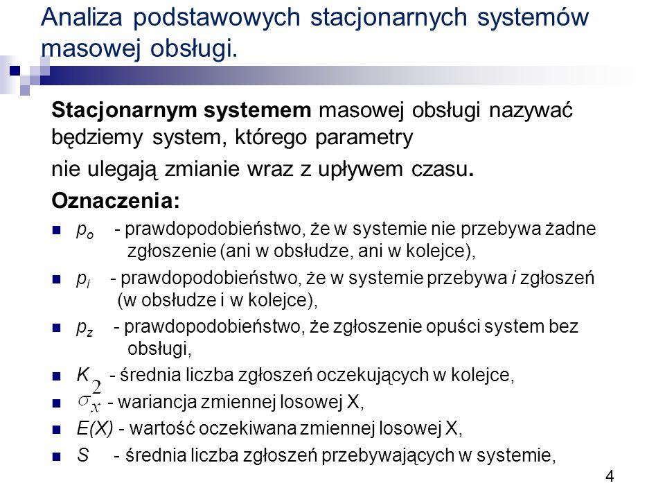 4 Analiza podstawowych stacjonarnych systemów masowej obsługi. Stacjonarnym systemem masowej obsługi nazywać będziemy system, którego parametry nie ul