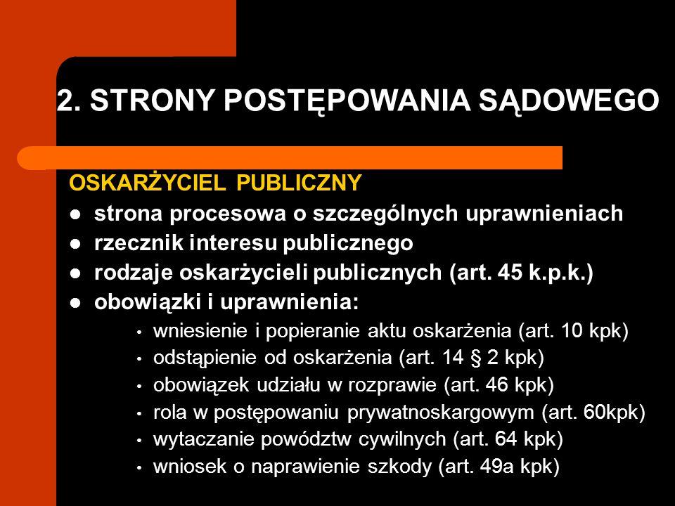 2. STRONY POSTĘPOWANIA SĄDOWEGO OSKARŻYCIEL PUBLICZNY strona procesowa o szczególnych uprawnieniach rzecznik interesu publicznego rodzaje oskarżycieli