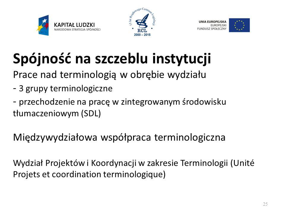 Spójność na szczeblu instytucji Prace nad terminologią w obrębie wydziału - 3 grupy terminologiczne - przechodzenie na pracę w zintegrowanym środowisku tłumaczeniowym (SDL) Międzywydziałowa współpraca terminologiczna Wydział Projektów i Koordynacji w zakresie Terminologii (Unité Projets et coordination terminologique) 25