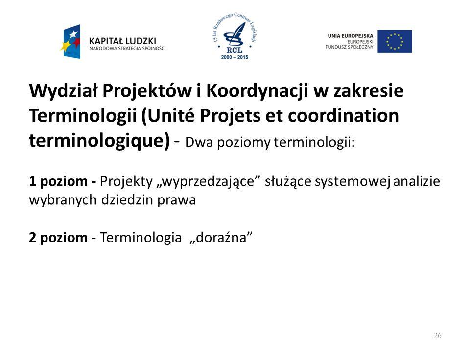 """Wydział Projektów i Koordynacji w zakresie Terminologii (Unité Projets et coordination terminologique) - Dwa poziomy terminologii: 1 poziom - Projekty """"wyprzedzające służące systemowej analizie wybranych dziedzin prawa 2 poziom - Terminologia """"doraźna 26"""