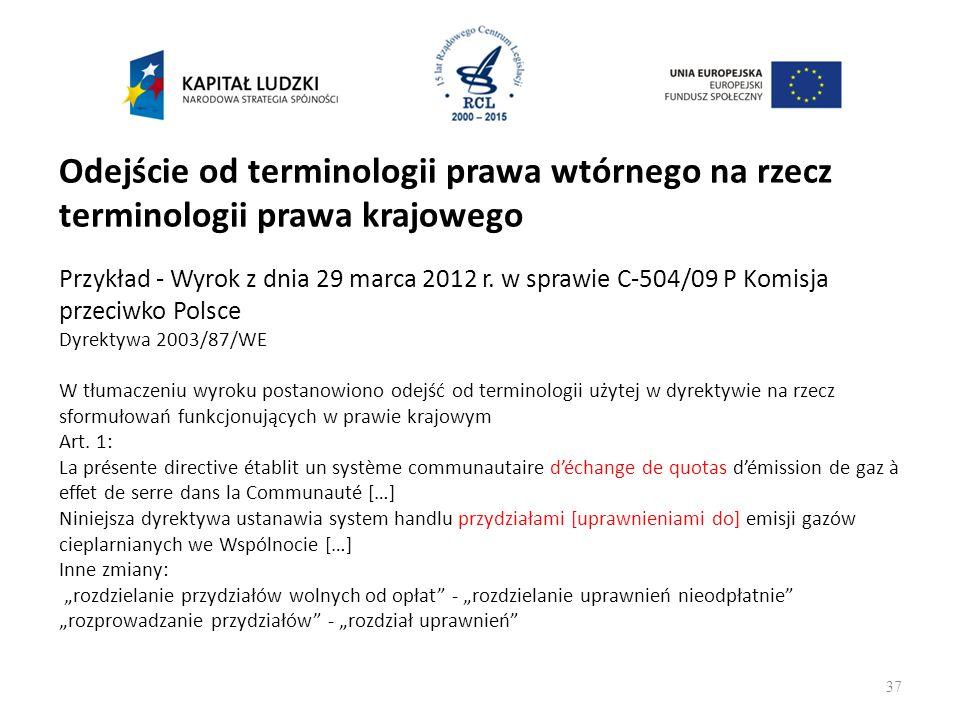 Odejście od terminologii prawa wtórnego na rzecz terminologii prawa krajowego Przykład - Wyrok z dnia 29 marca 2012 r.