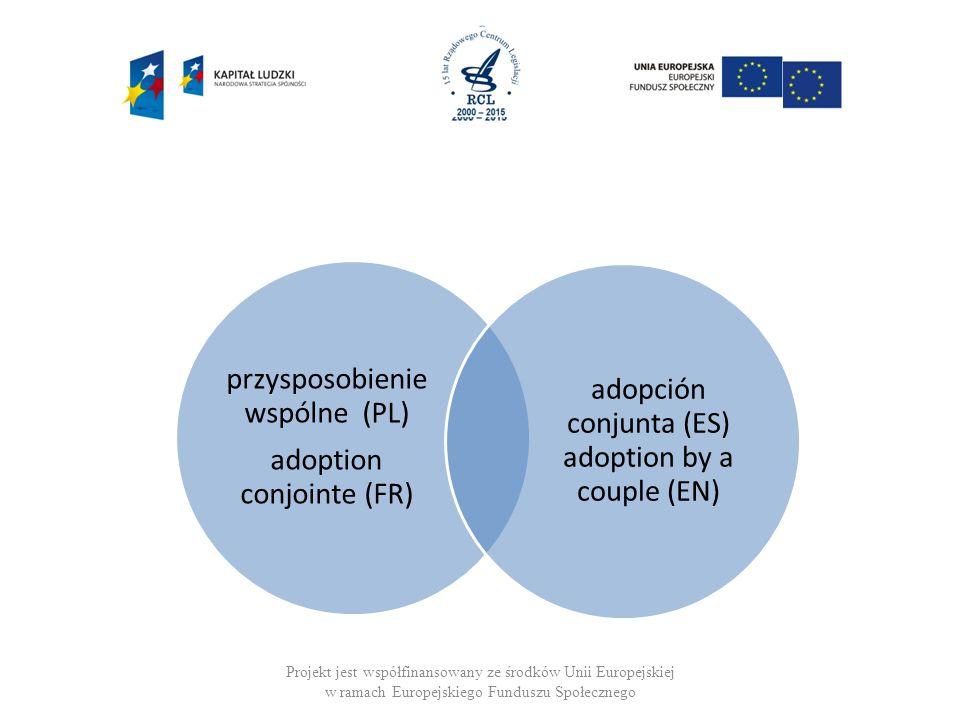 Projekt jest współfinansowany ze środków Unii Europejskiej w ramach Europejskiego Funduszu Społecznego przysposobienie wspólne (PL) adoption conjointe (FR) adopción conjunta (ES) adoption by a couple (EN)