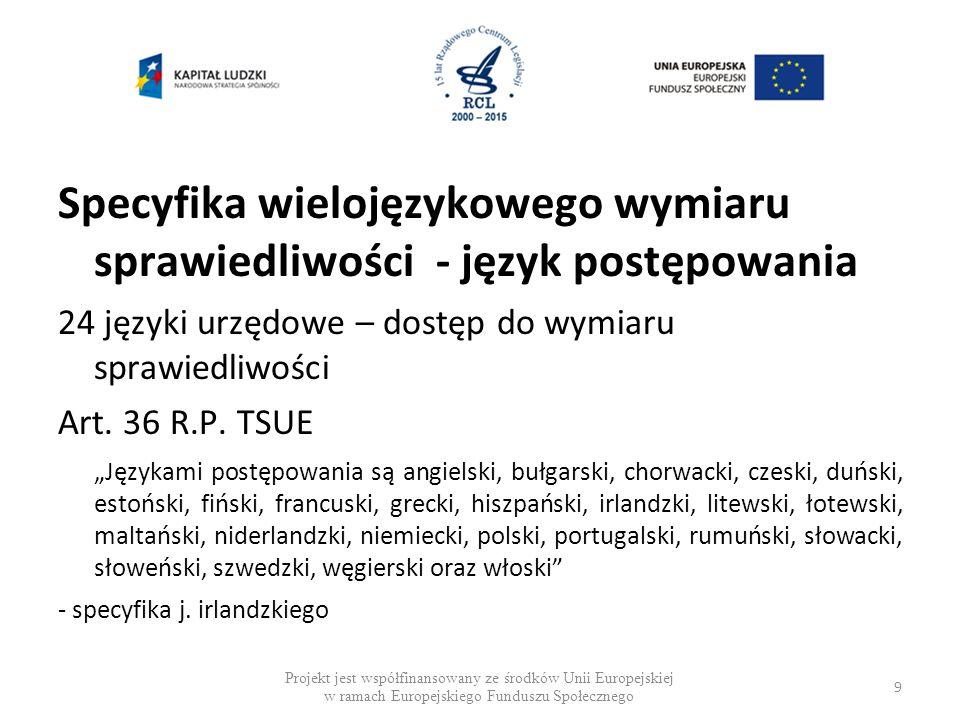 Specyfika wielojęzykowego wymiaru sprawiedliwości - język postępowania 24 języki urzędowe – dostęp do wymiaru sprawiedliwości Art.