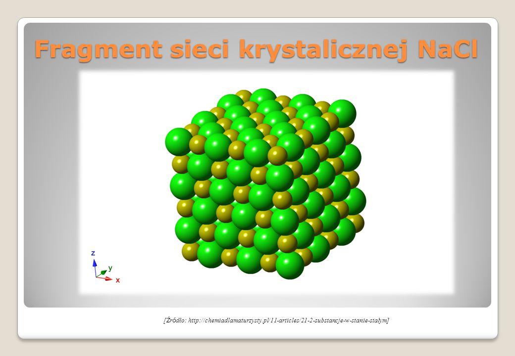 Fragment sieci krystalicznej NaCl [Źr ó dło: http://chemiadlamaturzysty.pl/11-articles/21-2-substancje-w-stanie-stalym]
