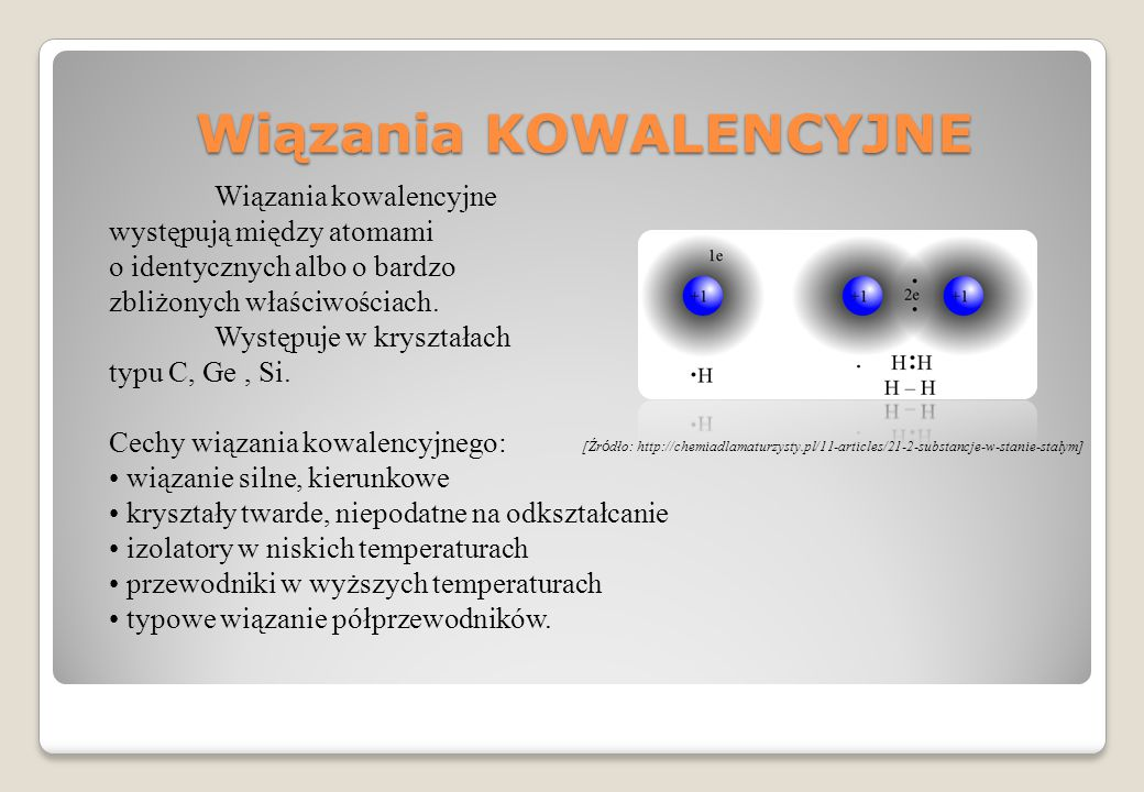 Wiązania KOWALENCYJNE Wiązania kowalencyjne występują między atomami o identycznych albo o bardzo zbliżonych właściwościach. Występuje w kryształach t
