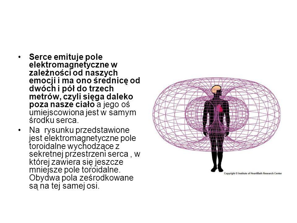 Serce emituje pole elektromagnetyczne w zależności od naszych emocji i ma ono średnicę od dwóch i pół do trzech metrów, czyli sięga daleko poza nasze ciało a jego oś umiejscowiona jest w samym środku serca.