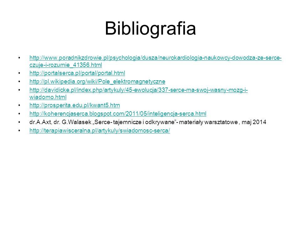 Bibliografia http://www.poradnikzdrowie.pl/psychologia/dusza/neurokardiologia-naukowcy-dowodza-ze-serce- czuje-i-rozumie_41356.htmlhttp://www.poradnikzdrowie.pl/psychologia/dusza/neurokardiologia-naukowcy-dowodza-ze-serce- czuje-i-rozumie_41356.html http://portalserca.pl/portal/portal.html http://pl.wikipedia.org/wiki/Pole_elektromagnetyczne http://davidicke.pl/index.php/artykuly/45-ewolucja/337-serce-ma-swoj-wasny-mozg-i- wiadomo.htmlhttp://davidicke.pl/index.php/artykuly/45-ewolucja/337-serce-ma-swoj-wasny-mozg-i- wiadomo.html http://prosperita.edu.pl/kwant5.htm http://koherencjaserca.blogspot.com/2011/05/inteligencja-serca.html dr.A.Axt, dr.