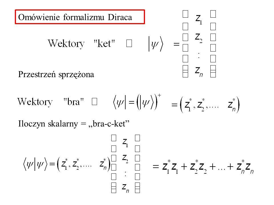 """Omówienie formalizmu Diraca Przestrzeń sprzężona Iloczyn skalarny = """"bra-c-ket"""