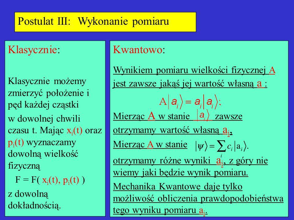 Postulat III: Wykonanie pomiaru Klasycznie: Klasycznie możemy zmierzyć położenie i pęd każdej cząstki w dowolnej chwili czasu t. Mając x i (t) oraz p