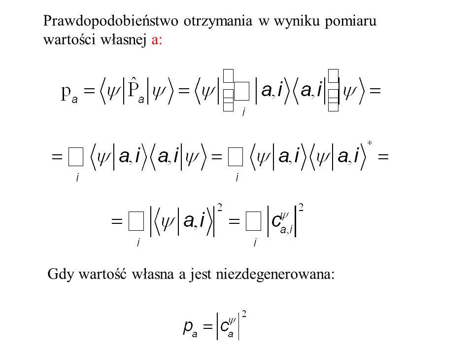Prawdopodobieństwo otrzymania w wyniku pomiaru wartości własnej a: Gdy wartość własna a jest niezdegenerowana:
