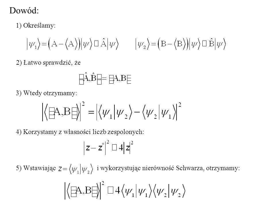 Dowód: 1) Określamy: 2) Łatwo sprawdzić, że 3) Wtedy otrzymamy: 4) Korzystamy z własności liczb zespolonych: 5) Wstawiając i wykorzystując nierówność Schwarza, otrzymamy: