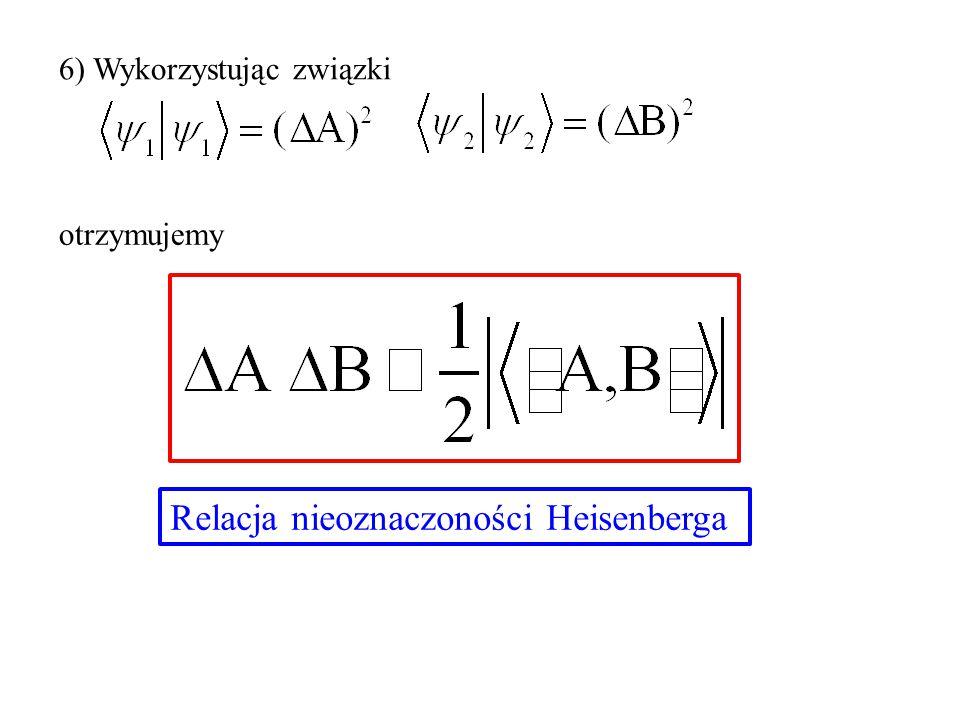 6) Wykorzystując związki otrzymujemy Relacja nieoznaczoności Heisenberga