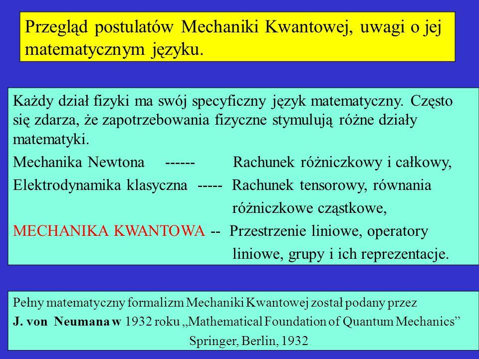 Przegląd postulatów Mechaniki Kwantowej, uwagi o jej matematycznym języku. Każdy dział fizyki ma swój specyficzny język matematyczny. Często się zdarz