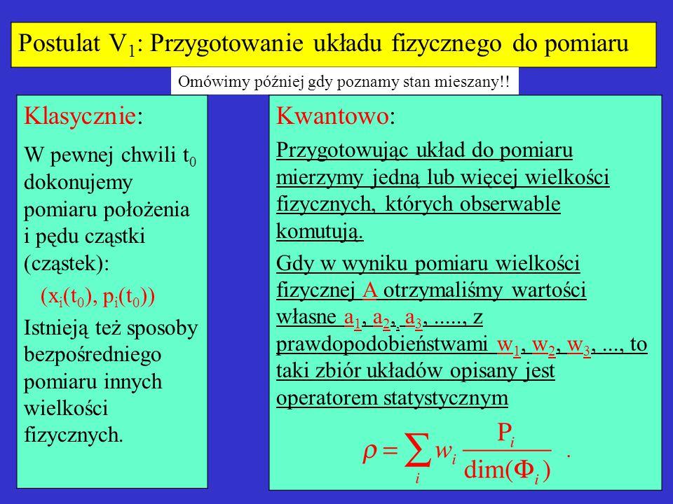 Postulat V 1 : Przygotowanie układu fizycznego do pomiaru Klasycznie: W pewnej chwili t 0 dokonujemy pomiaru położenia i pędu cząstki (cząstek): (x i (t 0 ), p i (t 0 )) Istnieją też sposoby bezpośredniego pomiaru innych wielkości fizycznych.