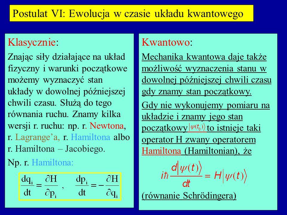 Postulat VI: Ewolucja w czasie układu kwantowego Klasycznie: Znając siły działające na układ fizyczny i warunki początkowe możemy wyznaczyć stan układy w dowolnej późniejszej chwili czasu.