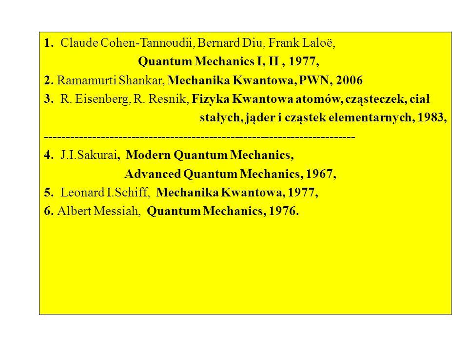 1.Claude Cohen-Tannoudii, Bernard Diu, Frank Laloë, Quantum Mechanics I, II, 1977, 2.