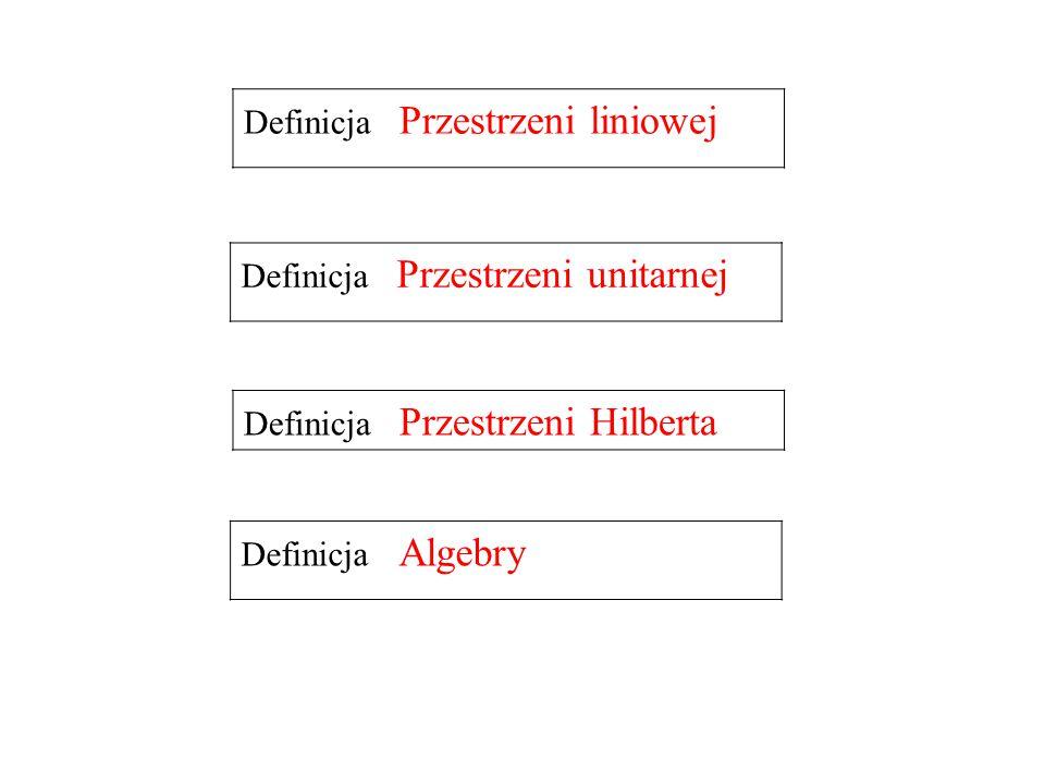 Definicja Algebry Definicja Przestrzeni liniowej Definicja Przestrzeni unitarnej Definicja Przestrzeni Hilberta