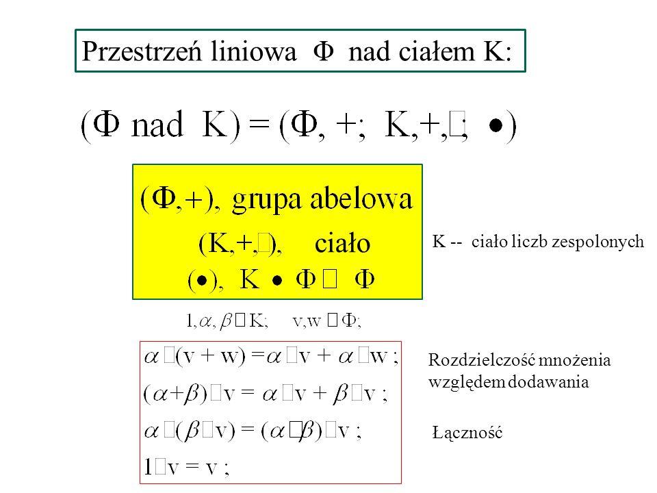 Przestrzeń liniowa Φ nad ciałem K: ciało Rozdzielczość mnożenia względem dodawania Łączność K -- ciało liczb zespolonych