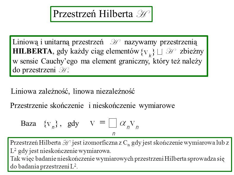 Przestrzeń Hilberta H Liniową i unitarną przestrzeń H nazywamy przestrzenią HILBERTA, gdy każdy ciąg elementów H zbieżny w sensie Cauchy'ego ma element graniczny, który też należy do przestrzeni H.
