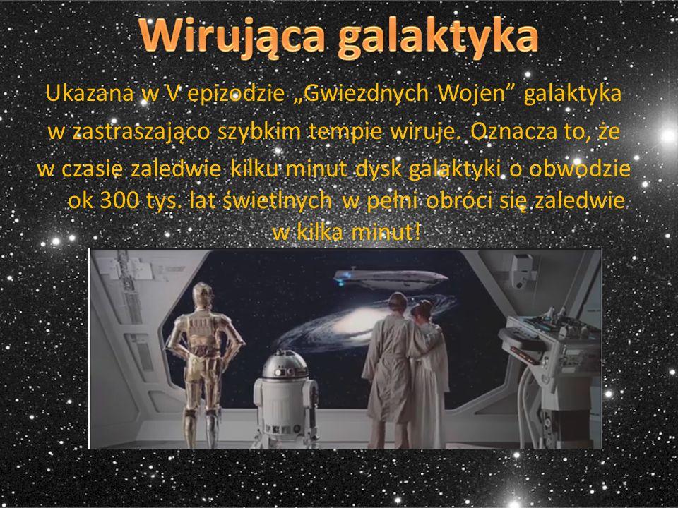 """Ukazana w V epizodzie """"Gwiezdnych Wojen"""" galaktyka w zastraszająco szybkim tempie wiruje. Oznacza to, że w czasie zaledwie kilku minut dysk galaktyki"""
