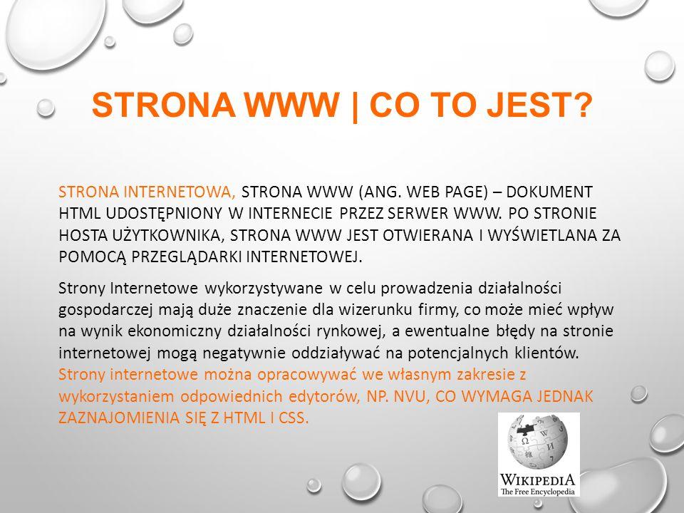 STRONA WWW | CO TO JEST. STRONA INTERNETOWA, STRONA WWW (ANG.
