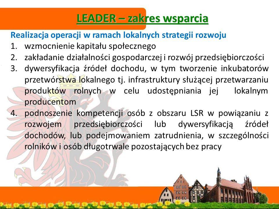 LEADER – zakres wsparcia Realizacja operacji w ramach lokalnych strategii rozwoju 1.wzmocnienie kapitału społecznego 2.zakładanie działalności gospodarczej i rozwój przedsiębiorczości 3.dywersyfikacja źródeł dochodu, w tym tworzenie inkubatorów przetwórstwa lokalnego tj.