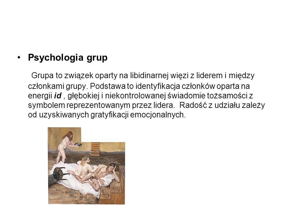 Psychologia grup Grupa to związek oparty na libidinarnej więzi z liderem i między członkami grupy. Podstawa to identyfikacja członków oparta na energi