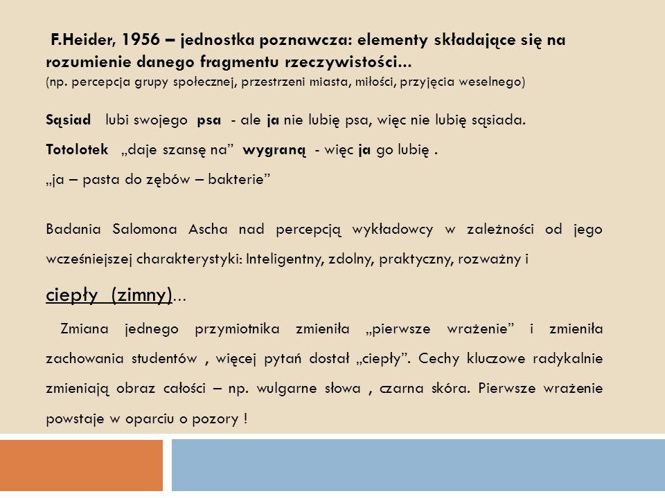 F.Heider, 1956 – jednostka poznawcza: elementy składające się na rozumienie danego fragmentu rzeczywistości... (np. percepcja grupy społecznej, przest