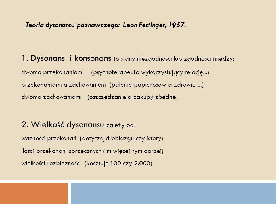 1. Dysonans i konsonans to stany niezgodności lub zgodności między: dwoma przekonaniami (psychoterapeuta wykorzystujący relację...) przekonaniami a za