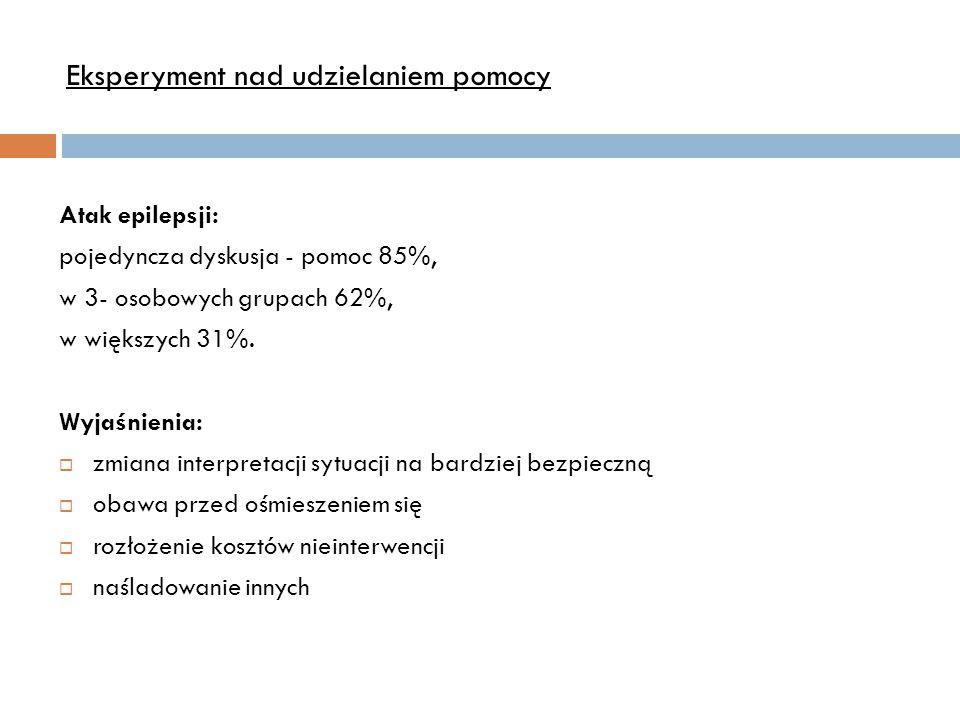Atak epilepsji: pojedyncza dyskusja - pomoc 85%, w 3- osobowych grupach 62%, w większych 31%. Wyjaśnienia:  zmiana interpretacji sytuacji na bardziej