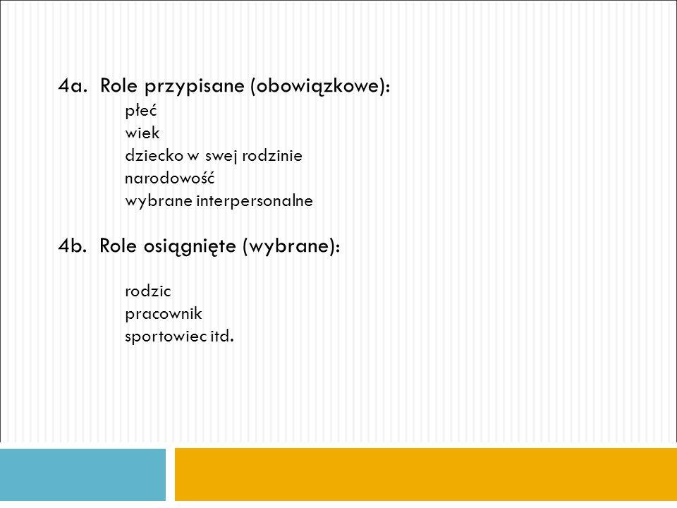 4a. Role przypisane (obowiązkowe): płeć wiek dziecko w swej rodzinie narodowość wybrane interpersonalne 4b. Role osiągnięte (wybrane): rodzic pracowni