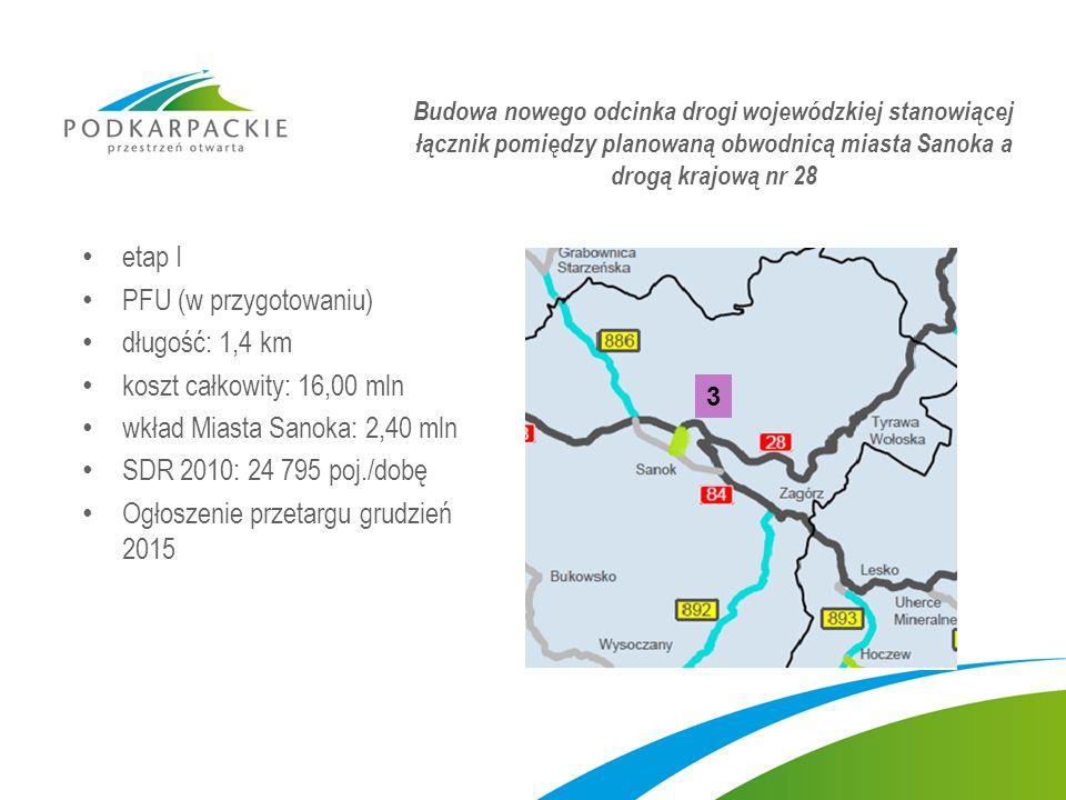 etap I PFU (w przygotowaniu) długość: 1,4 km koszt całkowity: 16,00 mln wkład Miasta Sanoka: 2,40 mln SDR 2010: 24 795 poj./dobę Ogłoszenie przetargu