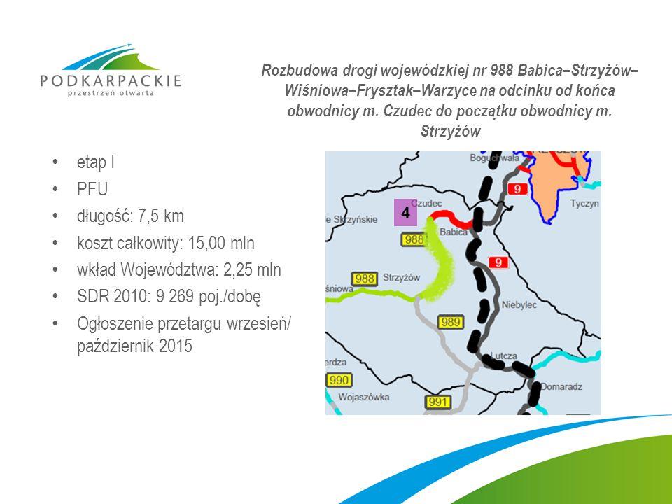 etap I PFU długość: 7,5 km koszt całkowity: 15,00 mln wkład Województwa: 2,25 mln SDR 2010: 9 269 poj./dobę Ogłoszenie przetargu wrzesień/ październik