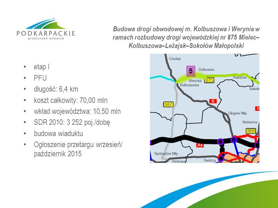 etap I PFU długość: 6,4 km koszt całkowity: 70,00 mln wkład województwa: 10,50 mln SDR 2010: 3 252 poj./dobę budowa wiaduktu Ogłoszenie przetargu wrzesień/ październik 2015 Budowa drogi obwodowej m.
