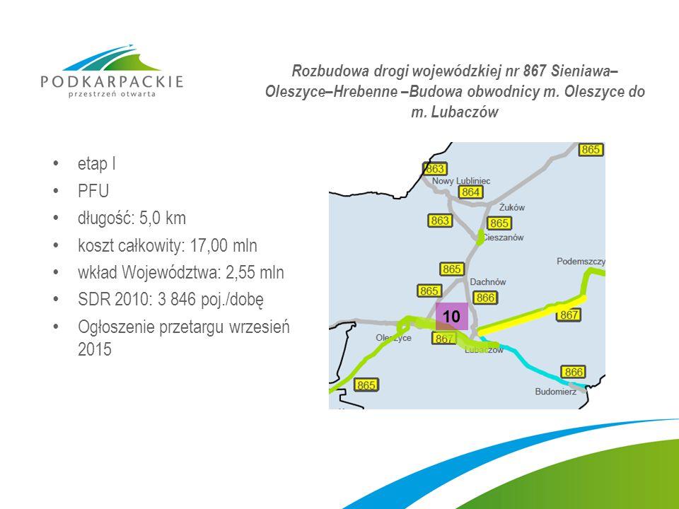 etap I PFU długość: 5,0 km koszt całkowity: 17,00 mln wkład Województwa: 2,55 mln SDR 2010: 3 846 poj./dobę Ogłoszenie przetargu wrzesień 2015 Rozbudowa drogi wojewódzkiej nr 867 Sieniawa– Oleszyce–Hrebenne –Budowa obwodnicy m.