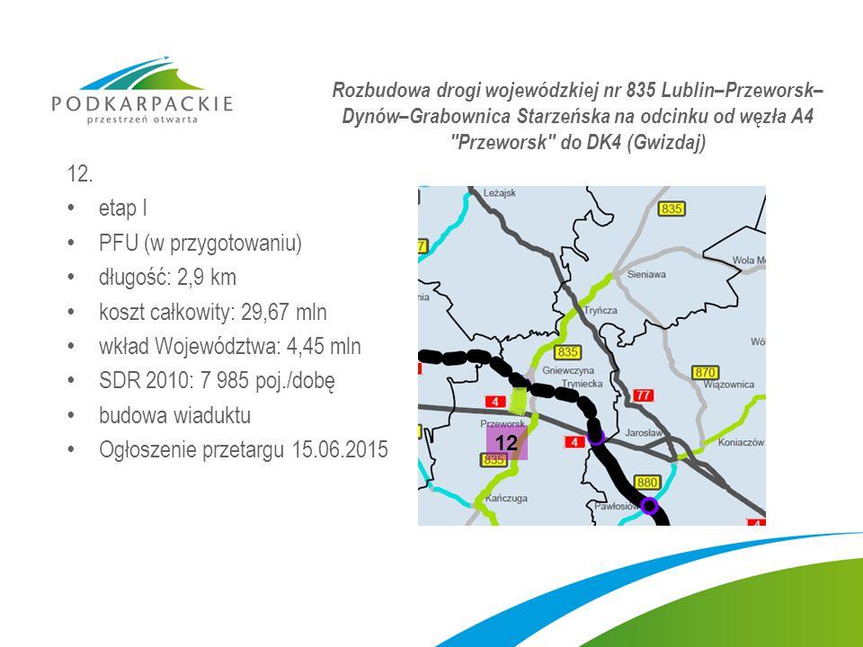 12. etap I PFU (w przygotowaniu) długość: 2,9 km koszt całkowity: 29,67 mln wkład Województwa: 4,45 mln SDR 2010: 7 985 poj./dobę budowa wiaduktu Ogło