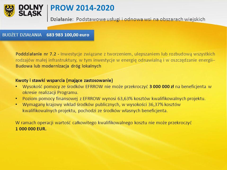 Kwoty i stawki wsparcia (mające zastosowanie) Wysokość pomocy ze środków EFRROW nie może przekroczyć 3 000 000 zł na beneficjenta w okresie realizacji