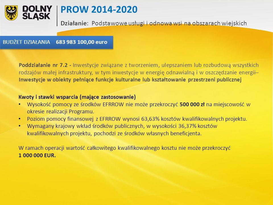 Kwoty i stawki wsparcia (mające zastosowanie) Wysokość pomocy ze środków EFRROW nie może przekroczyć 500 000 zł na miejscowość w okresie realizacji Pr