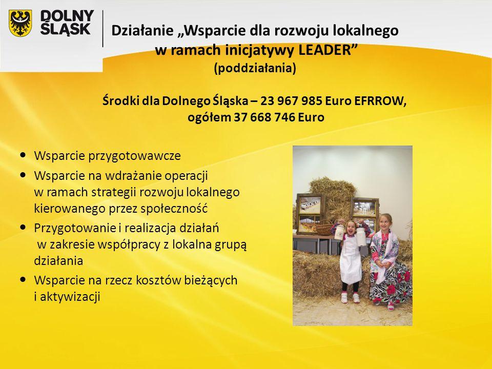 """Działanie """"Wsparcie dla rozwoju lokalnego w ramach inicjatywy LEADER"""" (poddziałania) Środki dla Dolnego Śląska – 23 967 985 Euro EFRROW, ogółem 37 668"""