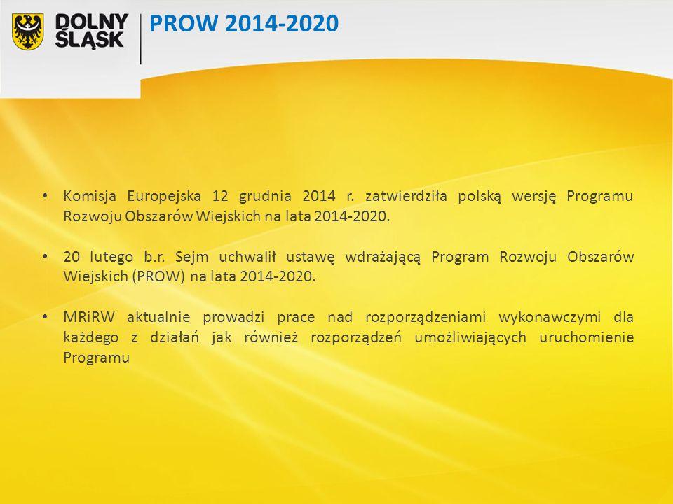 Komisja Europejska 12 grudnia 2014 r. zatwierdziła polską wersję Programu Rozwoju Obszarów Wiejskich na lata 2014-2020. 20 lutego b.r. Sejm uchwalił u
