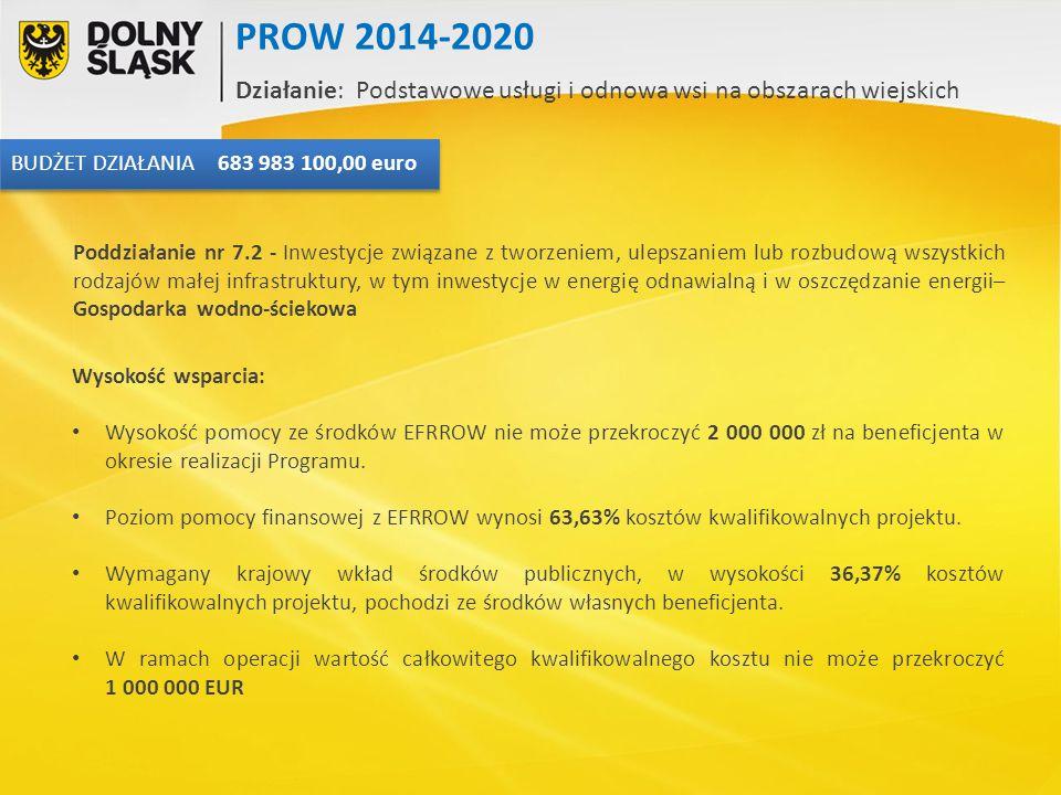Wysokość wsparcia: Wysokość pomocy ze środków EFRROW nie może przekroczyć 2 000 000 zł na beneficjenta w okresie realizacji Programu. Poziom pomocy fi