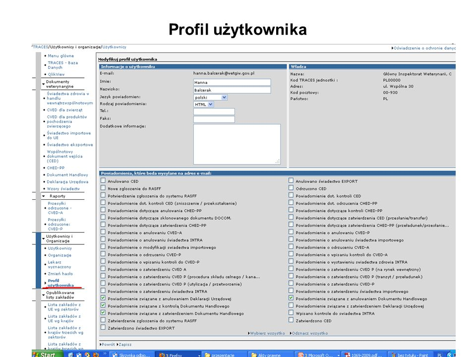 Profil użytkownika
