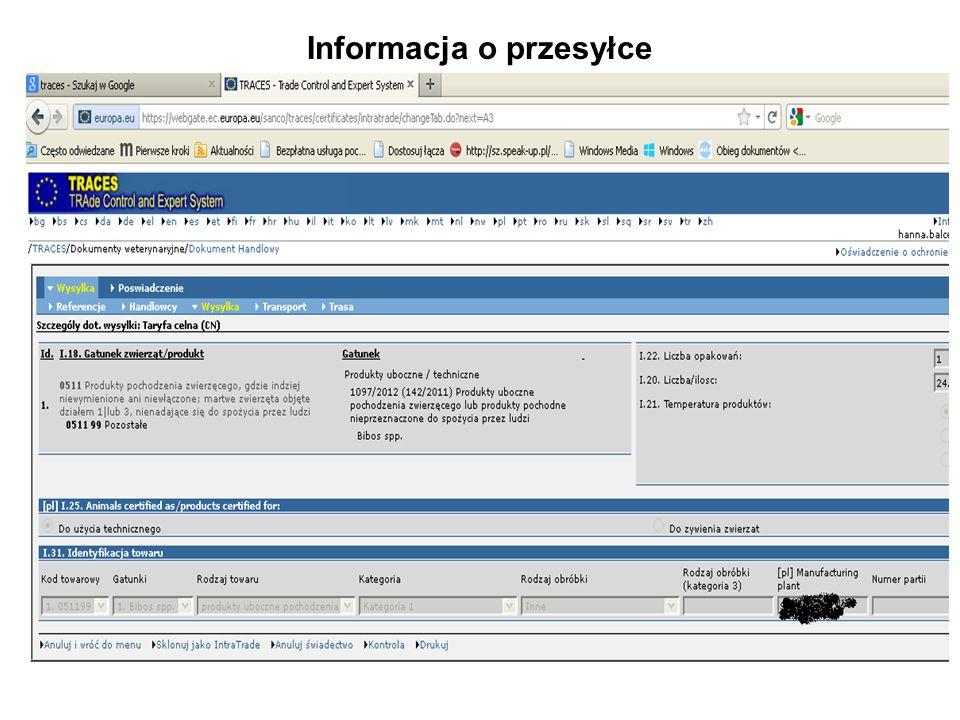 Informacja o przesyłce